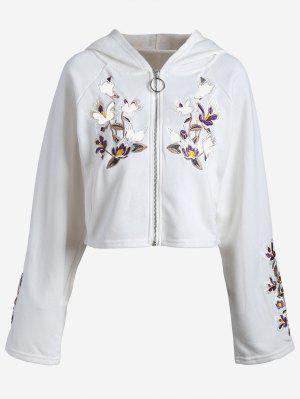 El Remiendo Floral Fijó Para Arriba La Sudadera Con Capucha - Blanco