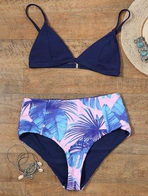 Reversible Bikini Set With Palm Leaf Print - L