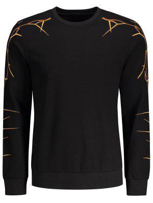 Pullover Lässige Stickerei Sweatshirt - Schwarz - Schwarz 2xl