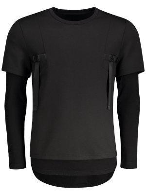 Camiseta De Manga Corta Con Doble Manga - Negro - Negro 2xl