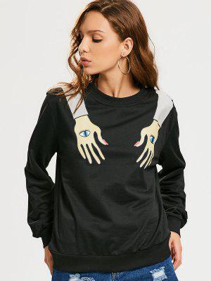 Cotton Eyes Hand Graphic Sweatshirt - Black S