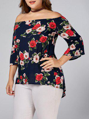 Floral Printed Plus Size Off Shoulder Blouse