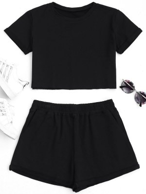 Cotton Sports Cropped Top and Shorts Suit