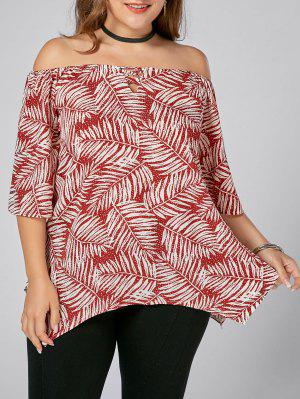 Leaf Printed Plus Size Off Shoulder Asymmetric Top
