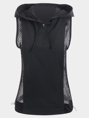 Half-zip Mesh Panel Hooded Sports Top
