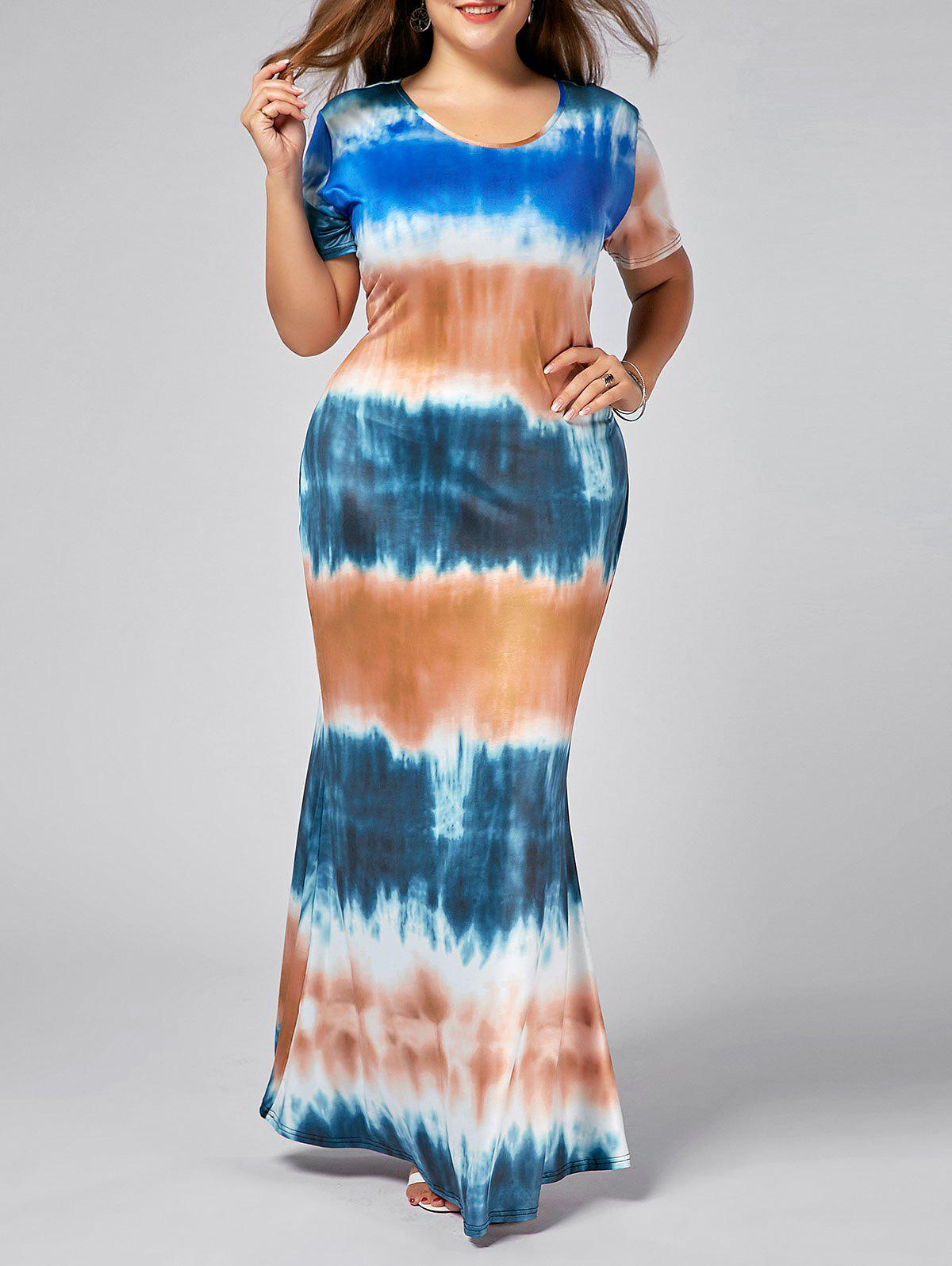 Plus Size Tie Dye Bodycon Maxi Dress