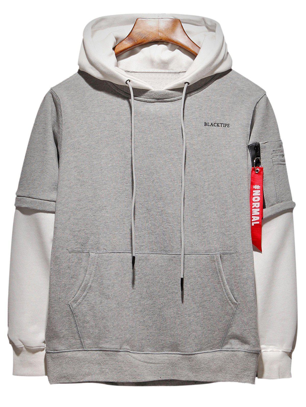 Hooded Color Block Panel Size Zipper Pocket Hoodie 221316805