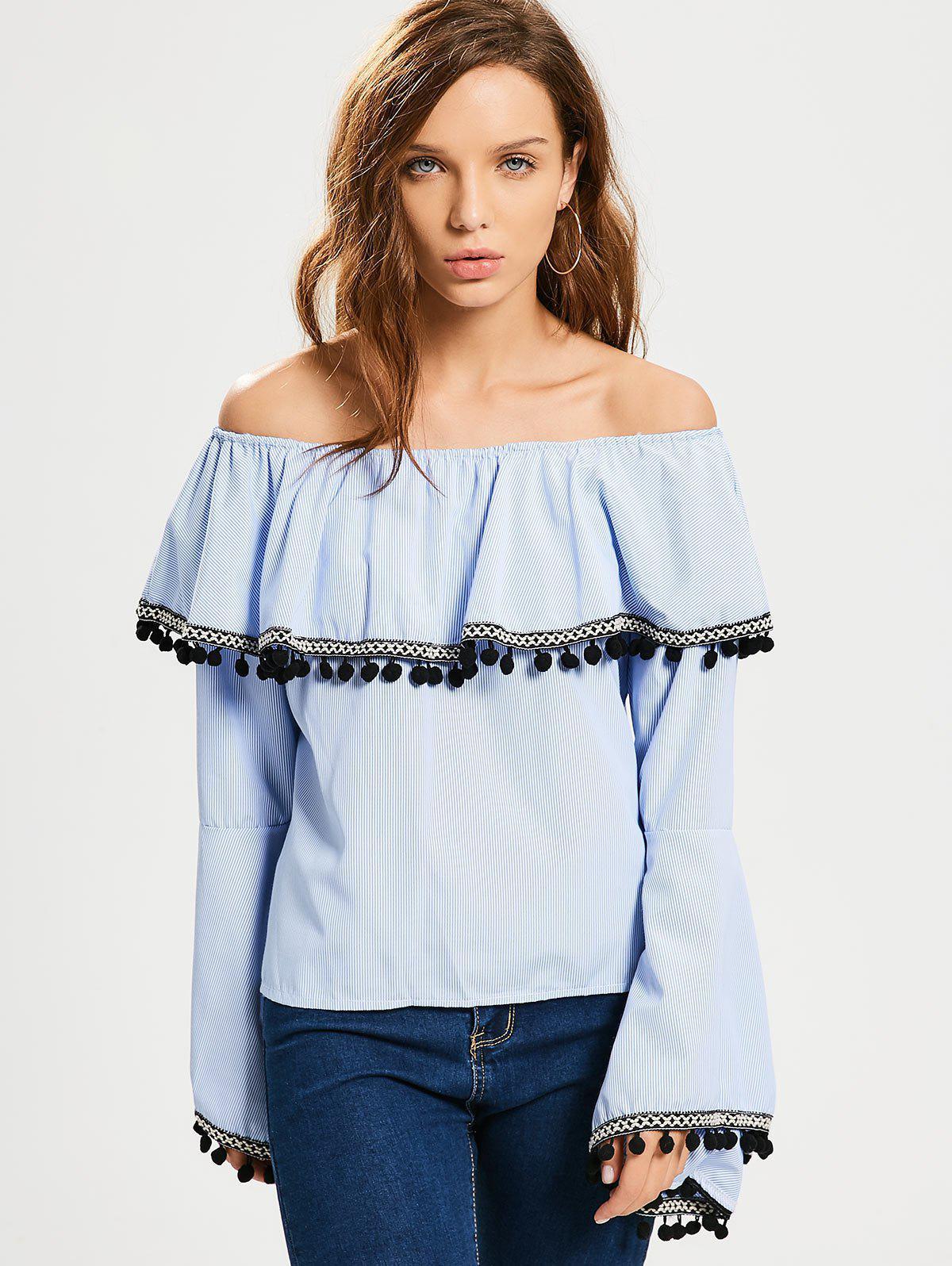 Lace Trim Stripes Aus Schulter Bluse