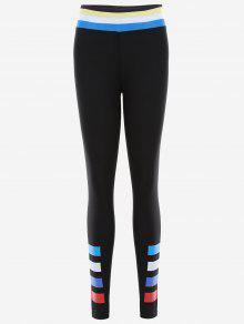 Slim Fit Color Block Sporty Leggings - Black Xl
