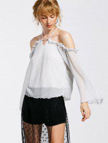Shiny Ruffles Cold Shoulder Top - Silver S