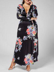 Deep Plunging Cuello Manga Larga Floral Plus Size Dress - Multi 5xl