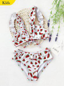 Watermelon Print Ruffles Kid Bikini - White 8t