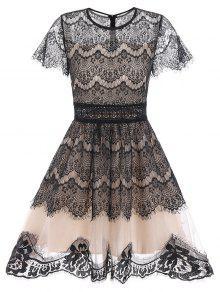 مخصر كلاسيكي A فستان دانتيل بخط - أسود Xl