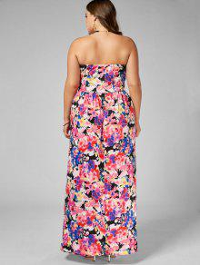 7849c67319 2019 Floral Floor Length Plus Size Bandeau Dress In MULTI 5XL