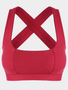 Buy Mesh Panel Crisscross Cutout Sports Bra - RED XL