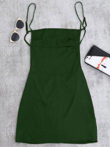 Backless Mini Slip Dress - Blackish Green M