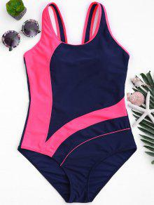One Piece Cut Out Color Block Swimwear - Blue And Pink M
