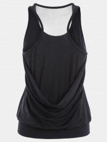 Racerback Mesh Draped Sports Top - Black S