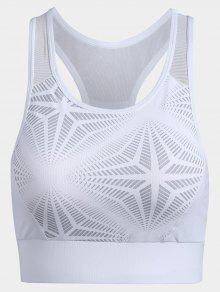Abstract Print Mesh Panel Racerback Bra - White S