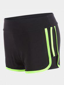 Stripe Trim Sports Shorts - Neon Green M