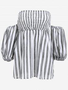 Puff Sleeve Strapless Striped Dress - Black