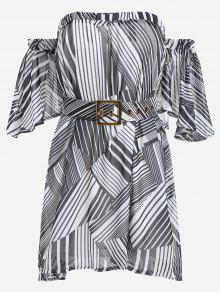 Belted Striped Dress With Hair Band - Black