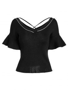 Criss Cross Flare Sleeve Knitted Tee - Black