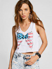 Cut Out Bowknot Graphic Tank Top - White 2xl