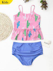 Printed High Waisted Kids Tankini Set - Pink 6t