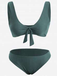 Front Knot Plus Size Bikini Set - Blackish Green Xl