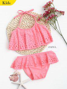 Overlay Laser Cut Ruffles Kid Bikini - Shallow Pink 7t