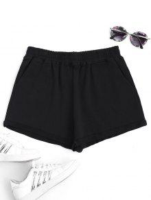 Rolled Cuff Elastic Waist Sports Shorts - Black M