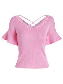 Criss Cross Flare Sleeve Knitted Tee - Pink