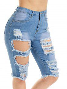 8c66974b7 34% OFF] 2019 Knee Length Ripped Jean Shorts In BLUE | ZAFUL