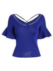 Criss Cross Flare Sleeve Knitted Tee - Blue