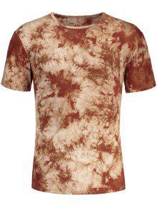 Hombres Camiseta Redonda De Cuello Redondo - Café Luz L