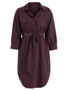 فستان مربوط عالية انخفاض - نبيذ أحمر Xl