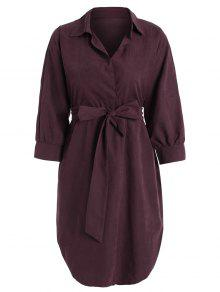 Belted Plain High Low Dress - Wine Red 2xl