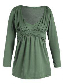 Plunging Neck Ruched Plain Tee - Pea Green S