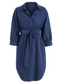 Belted Plain High Low Dress - Blue M