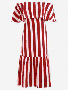 Off The Shoulder Striped Flounce Dress - Red