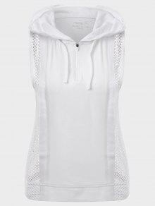 Half-zip Mesh Panel Hooded Sports Top - White S