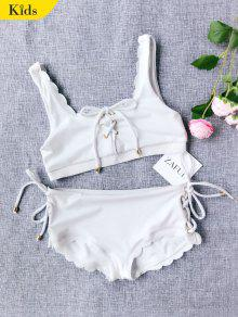 Scalloped Lace Up Bikini - White 6t