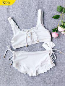 Scalloped Lace Up Bikini - White 6t
