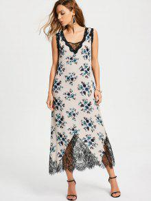 Lace Trim Floral Stripes Maxi Dress - Blue L