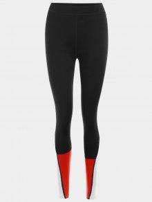Color Block Sports Leggings - Red L