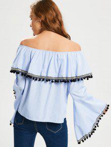 Raya L La De Trim Lace Blusa Stripes Hombro Del aS0x8qxR