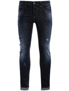 Men Straight Ripped Vintage Jeans - Blue 34