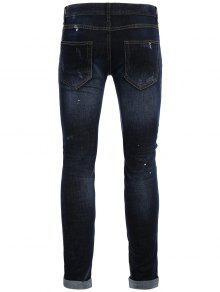 2018 m nner gerade zerrissene vintage jeans von blau 32 zaful. Black Bedroom Furniture Sets. Home Design Ideas