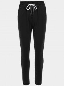 Striped Drawstring Sports Pants - Black M